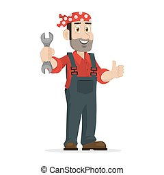 Mechanic holds wrench - Illustration mechanic holds wrench,...