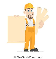 Builder holds clean sheet of paper