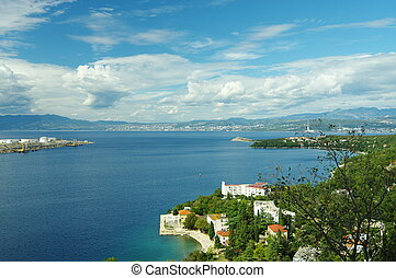Adriatic sea and the cloudy sky - Omisalj, Croatia: a town...