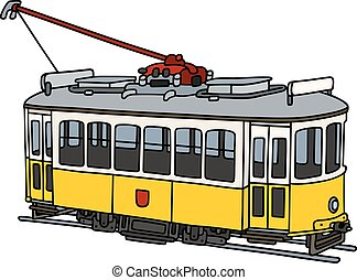 Vintage yellow tramway - Hand drawing of an old yellow and...