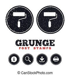 Paint roller sign icon. Painting tool symbol. - Grunge post...