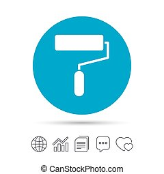 Paint roller sign icon. Painting tool symbol. Copy files,...