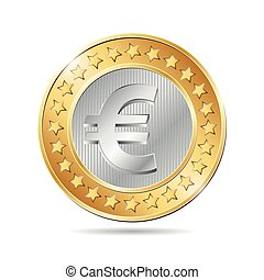 vector illustration of a coin with euro sign