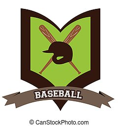 Isolated baseball emblem with a pair of bats, Vector...