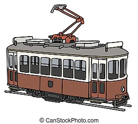Classic electric tramway - Hand drawing of a vintage red and...