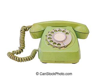 Green retro telephone isolated