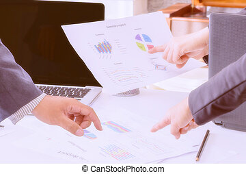 Business adviser consulting with team. - Business adviser...