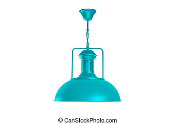 Cyan hanging lamp isolated. - Cyan hanging lamp isolated on...