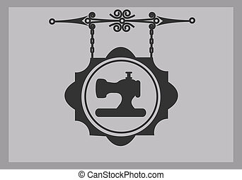 retro tailor sign of sewing machine, vector illustration