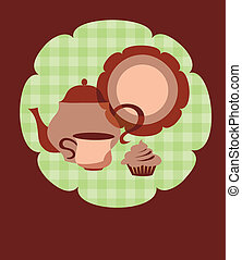 retro teapot, cup and plate on flower shape background