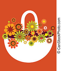 spring flower basket card, vector illustration