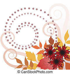 Autumn leaves with curls - autumn leaves and flowers on...