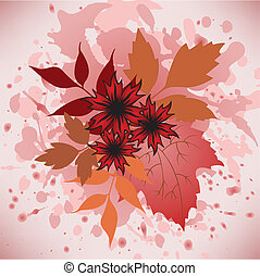 autumn leaves and flowers - Several autumn flowers and...