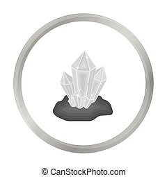 Crystals icon in monochrome style isolated on white...