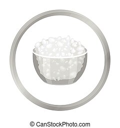 Cottage cheese in the bowl icon in monochrome style isolated...