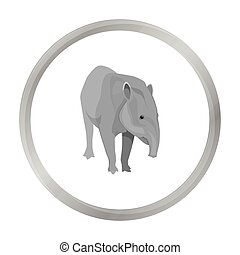 Mexican tapir icon in monochrome style isolated on white...