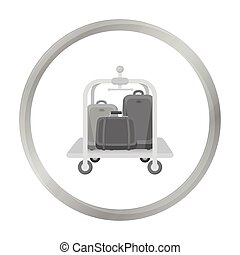 Luggage cart icon in monochrome style isolated on white...