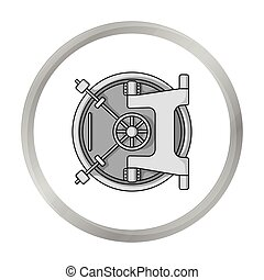 Bank vault icon in monochrome style isolated on white...