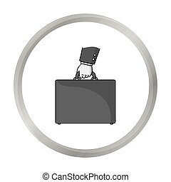 Briefcase icon in monochrome style isolated on white...
