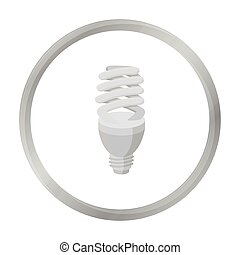 Fluorescent lightbulb icon in monochrome style isolated on white background. Light source symbol stock vector illustration