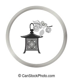 Japanese lantern icon in monochrome style isolated on white background. Japan symbol stock vector illustration.