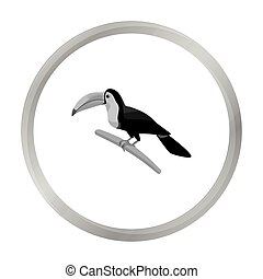 Mexican keel-billed toucan icon in monochrome style isolated...