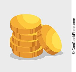 golden coins isolated icon vector illustration design