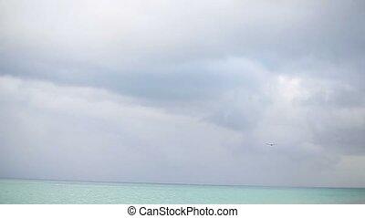 Caribbean sea nature at cloudy day
