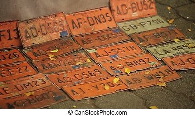 Gift car license plates on a ground