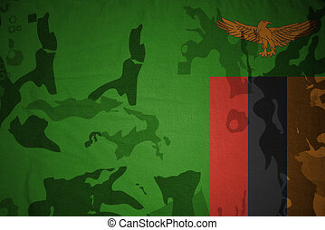 flag of zambia on the khaki texture . military concept -...