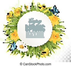 Nature spring background with narcissus, daisies and butterflies. Vector.