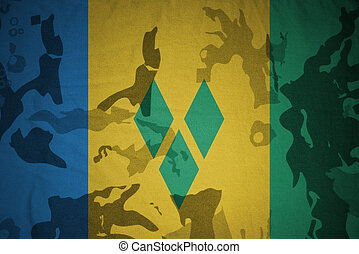 flag of saint vincent and the grenadines on the khaki...