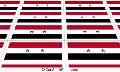 Postcards with Syria national flag looped - Sheet of...