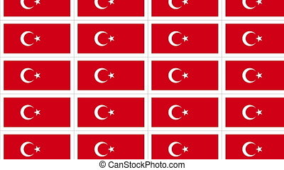 Postcards with Turkish national flag looped - Sheet of...