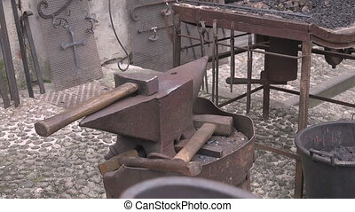Blacksmith forging wrought iron anvil hammer