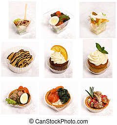 set of a different snacks for catering service
