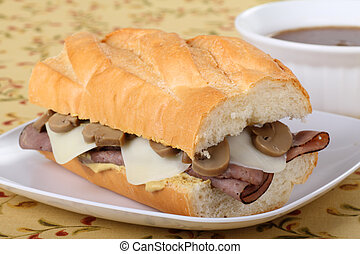 Roast Beef Sandwich - Roast beef with melted mozzarella...