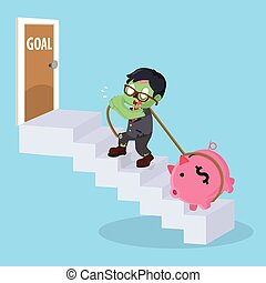 zombie businessman stairs to goal