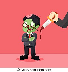 zombie businessman with hand with knife
