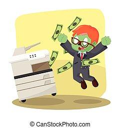 zombi, hombre de negocios, Con éxito, copiado, dinero