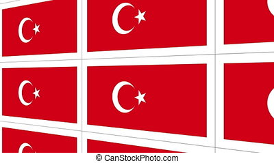 Postcards with Turkish national flag - Sheet of postcards...