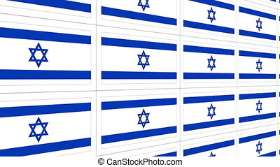 Postcards with Israel national flag looped - Sheet of...