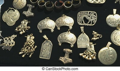 Ancient silver minted pendants from warriors - Collection of...