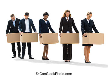 Disappointed Businesspeople Standing With Cardboard Boxes