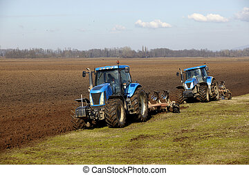 agriculture tractor cultivated lanf field vegetable -...