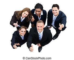 High Angle View Of A Successful Businesspeople With...