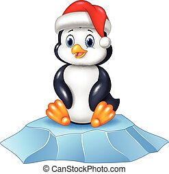 Cute baby penguin sitting on ice floe - Vector illustration...