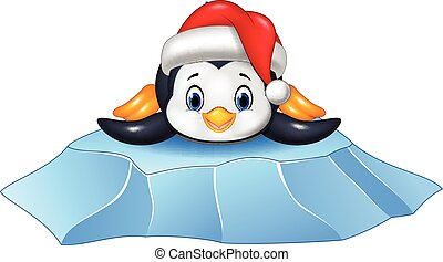 Cute baby penguin on ice floe - Vector illustration of Cute...
