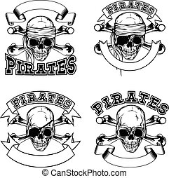 Pirate emblem set - Vector illustration pirate skull and...