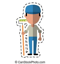 cartoon man painter with roller and cap vector illustration...